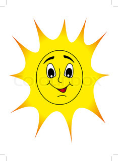 illustration merry nice sun shines with smile
