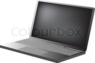 3D- Laptop Darstellung in grau colores