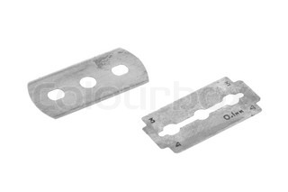 Old traditional razor blade, isolated on white background