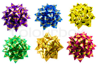 bow bows gift collection , close-up isolated on white background