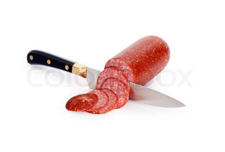 Sliced sausage and kitchen knife isolated on white background with clipping path