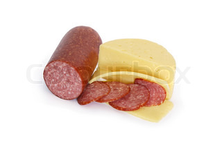 Sliced cheese and salami isolated on white background with clipping path