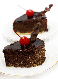 chocolate cakes with red cherry