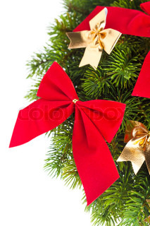 branch of Christmas tree with ribbon