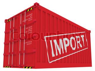 Import Frachtcontainer isoliert auf weiß