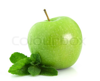 Green apple with mint leaf isolated on white background