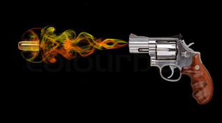 revolver with bullet on black background