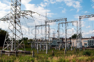 Electricity tower with power line cable and blue sky