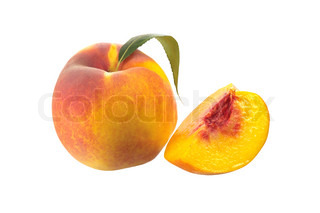ripe peach fruit with green leaf isolated on white background