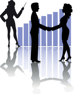 silhouettes of business people shaking hands against a background of the chart and a girl with a pointer