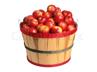 sweet red apples in basket isolated on white background