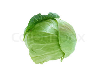 head of cabbage isolated on white background