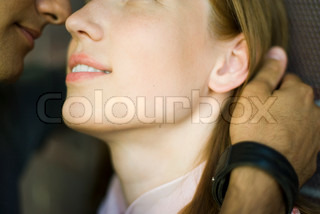 ?Ale Ventura/AltoPress/Maxppp ; Young couple touching noses, man caressing woman's hair, cropped