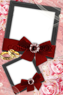 background with rings and 2 frames with bow and flower