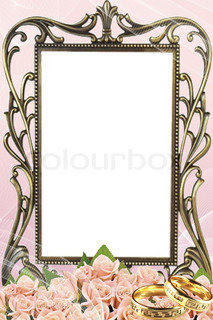 old frame with beautiful rose, rings and lace