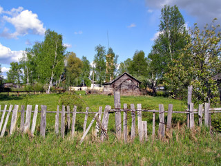 old wooden fence in village