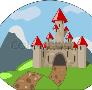 vector cartoon medieval castle on background with mountains