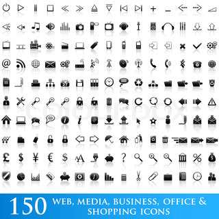 Set of 150 web, media, business, office and shopping icons