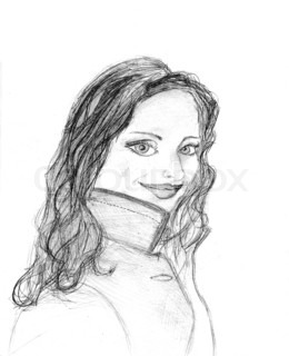 pencil sketch of the girl on white background