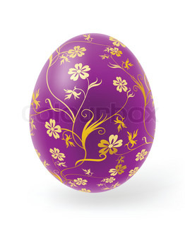 Multi-coloured Easter eggs with decor elements on a white background