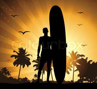 Sommerurlaub , Mann mit Surfbrett