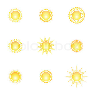 set of abstract glossy sun collection. Decorative sun symbols.