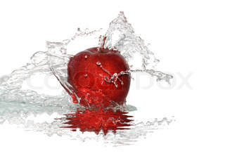 Red apple and splashing water isolated on white background with clipping path