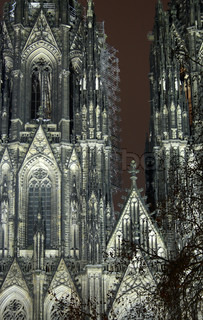 Closeup of famous Cologne Cathedral. Night scene with long exposure