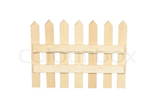 Small toy wooden fence isolated on white background with clipping path
