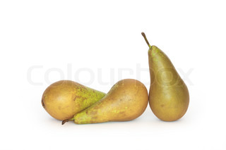 Three green pears isolated on white background with clipping path