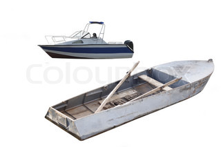 Two boats under the white background