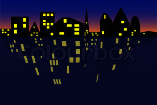 Vector illustration of the night seaside town