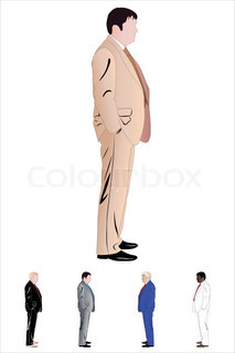 Vector illustration of businessman. Illustration has five colour versions