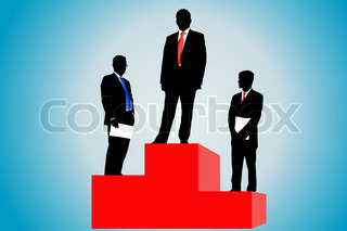 Vector illustration of businessmen stand on a podium