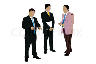Vector illustration of three speaking businessman