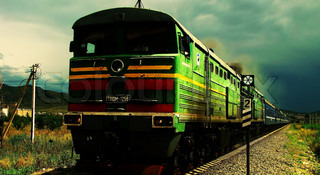 High speed green train on the railway, transport and travel, photo art