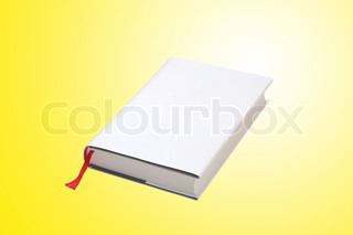 White book over yellow background