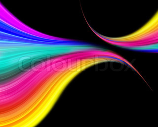 abstract colorful wave design on a black background