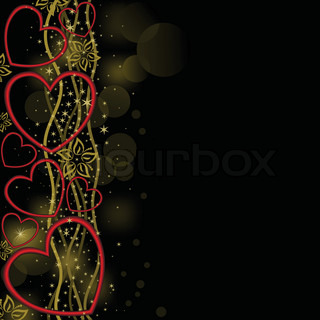abstract black background with red hearts on the golden waves