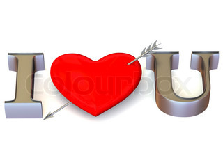 Text I LOVE YOU with Heart