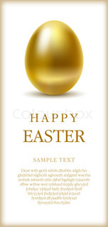 Happy easter greetings card with golden egg and space for text.