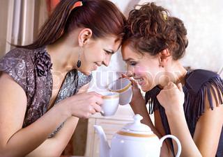 To veninder snak og drikker te i salonen