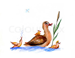 baby drawing of the duck on white background