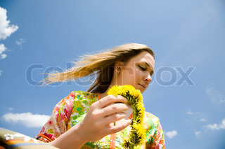 Young Hippie Woman Under The Sunlight