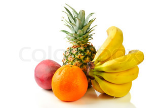 fresh tropical fruits: banana, mango,  pineapple isolated on white background