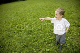 Young Boy Pointing At The Sky