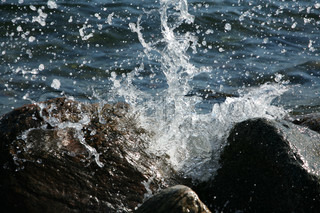 Water splashing on rocks