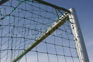 Picture of football net close up im Sommer