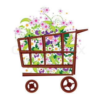 Shopping basket with flowers
