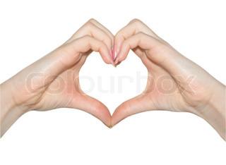 Kærlighed, hænderne på hjerte form